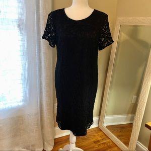 Ann Taylor Black Lace Short Sleeve Dress sz 14